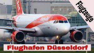 Airbus und Boeing Flugzeuge auf der Startbahn und Landebahn vom Flughafen Düsseldorf