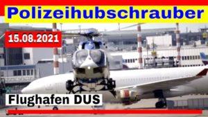 Hubschrauber Landeanflug am Flughafen Düsseldorf